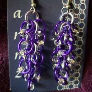 Jewelry - Chainmaille Shaggy Beaded Earrings